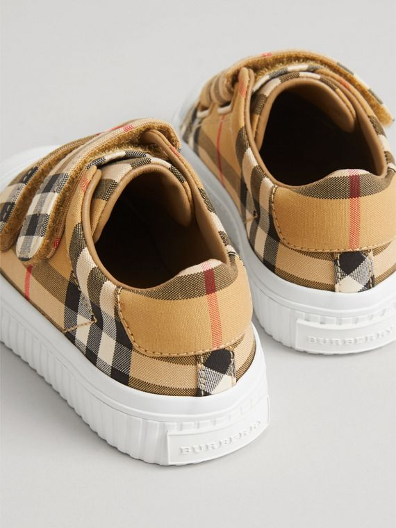 Vintage Check and Leather Sneakers in Optic White/black | Burberry Singapore - cell image 2