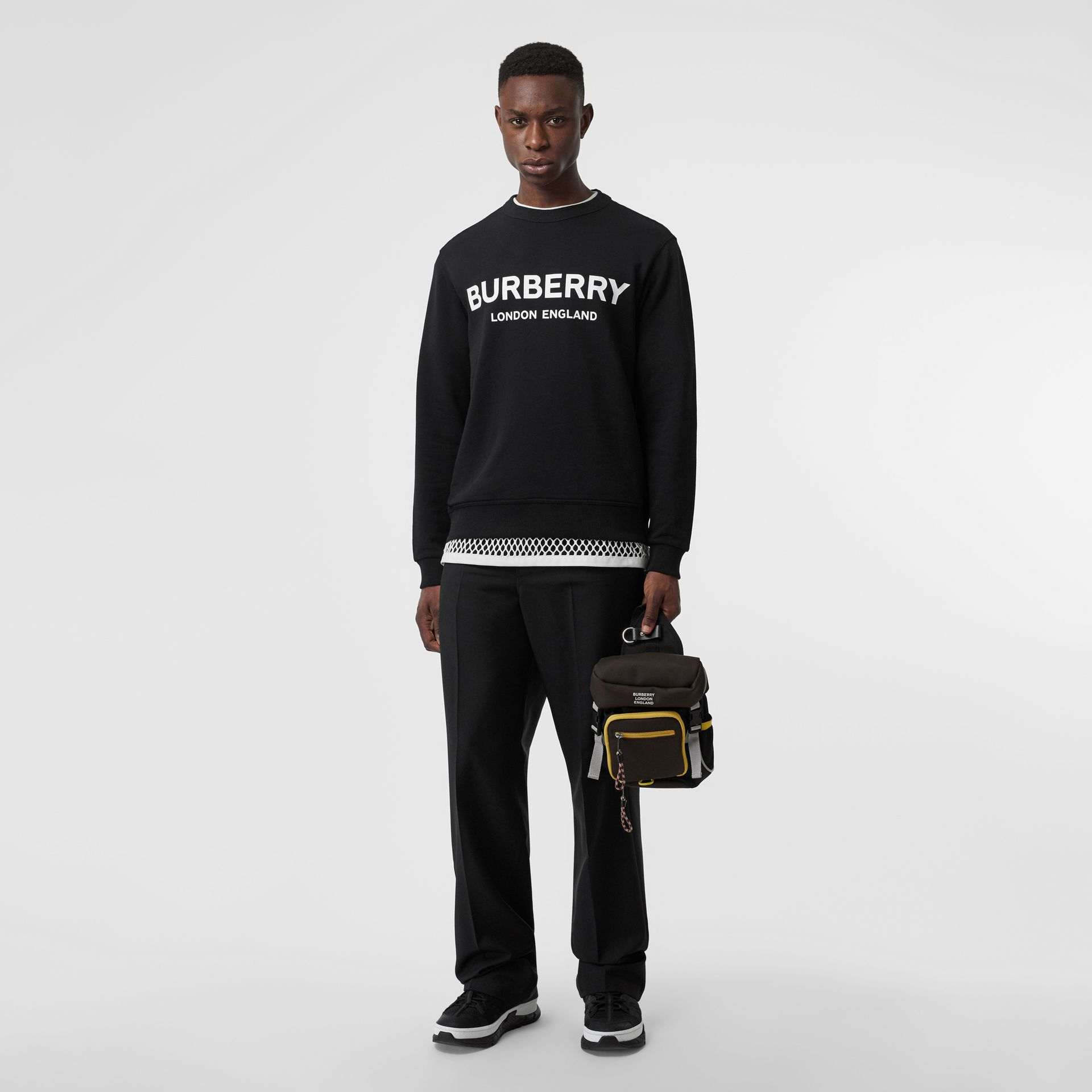 Logo Print Cotton Sweatshirt in Black - Men | Burberry Australia - gallery image 0