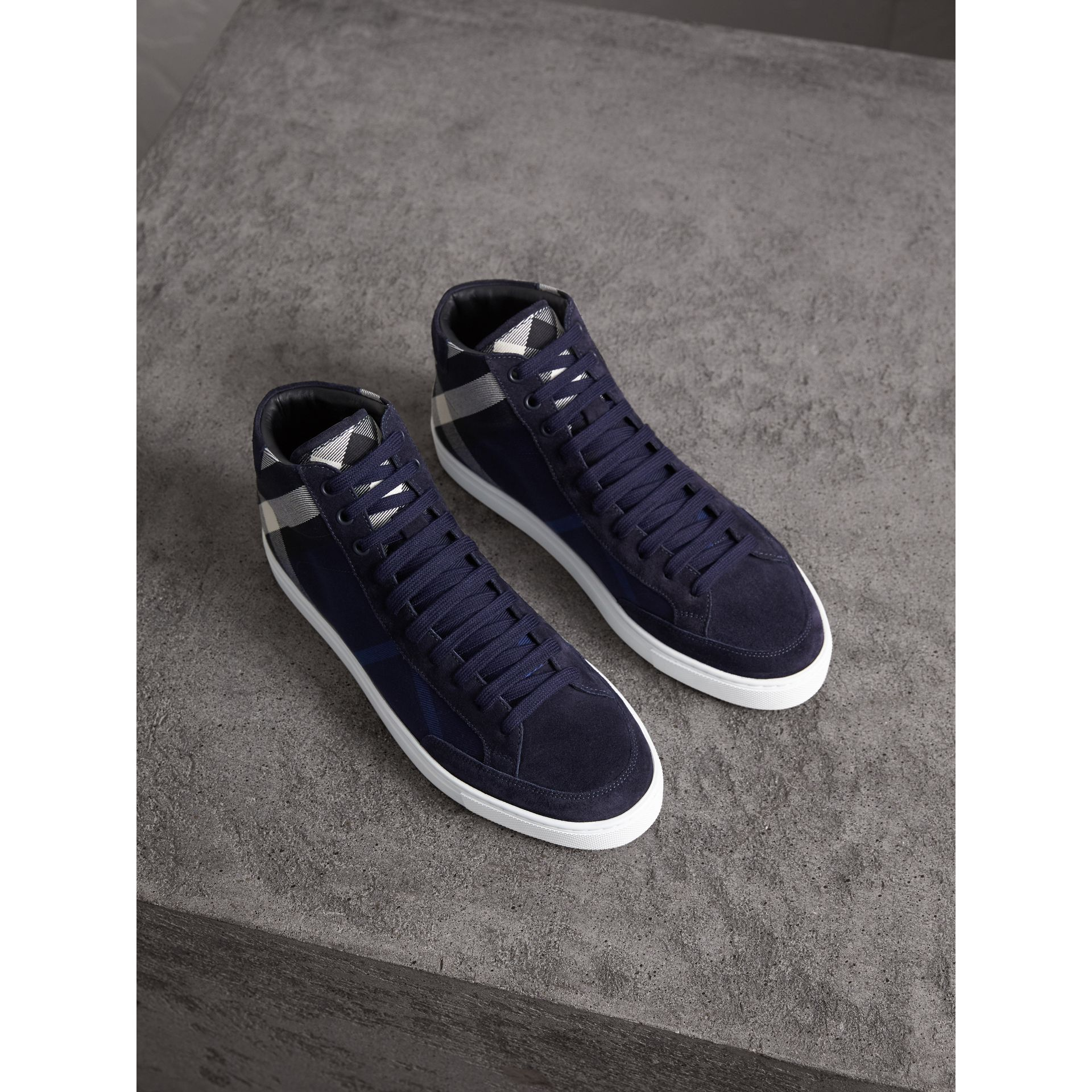 House Check Cotton and Calf Suede High-top Trainers in Navy - Men | Burberry - gallery image 1