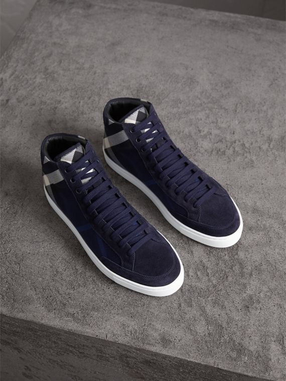 House Check Cotton and Calf Suede High-top Trainers in Navy