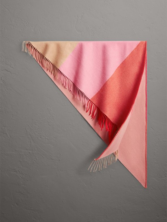 The Burberry Bandana in Striped Cashmere in Rose Pink