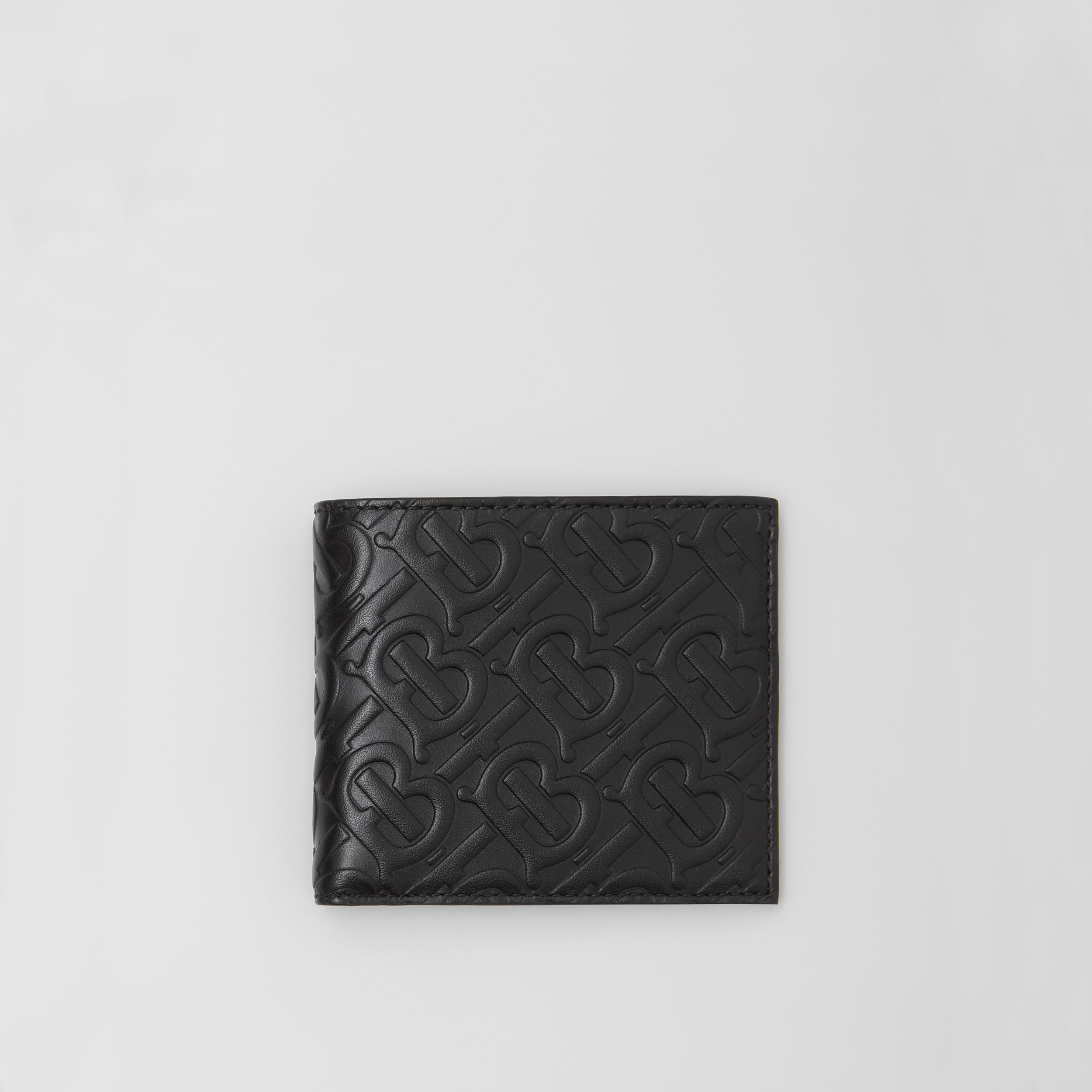Monogram Leather International Bifold Wallet in Black - Men | Burberry - 1