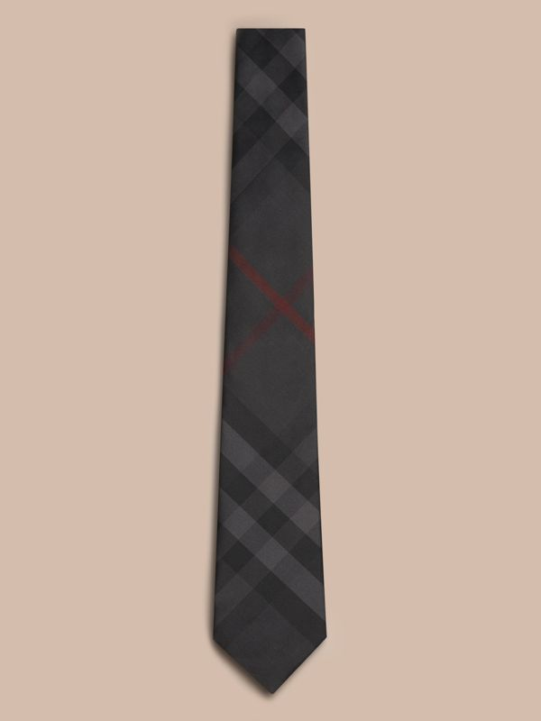 Classic Cut Check Silk Tie in Charcoal - Men | Burberry United States - cell image 2