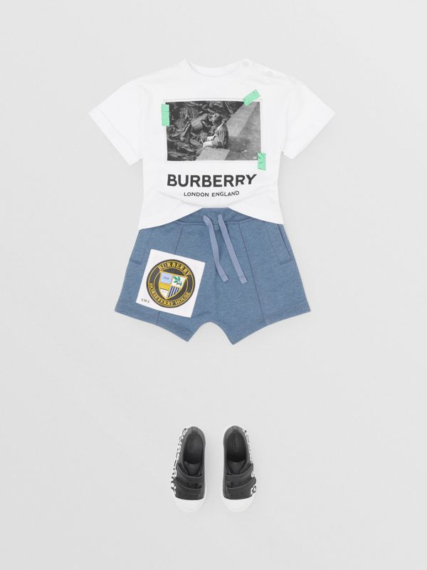 Patch Detail Cotton Drawcord Shorts in Dusty Blue - Children | Burberry - cell image 2