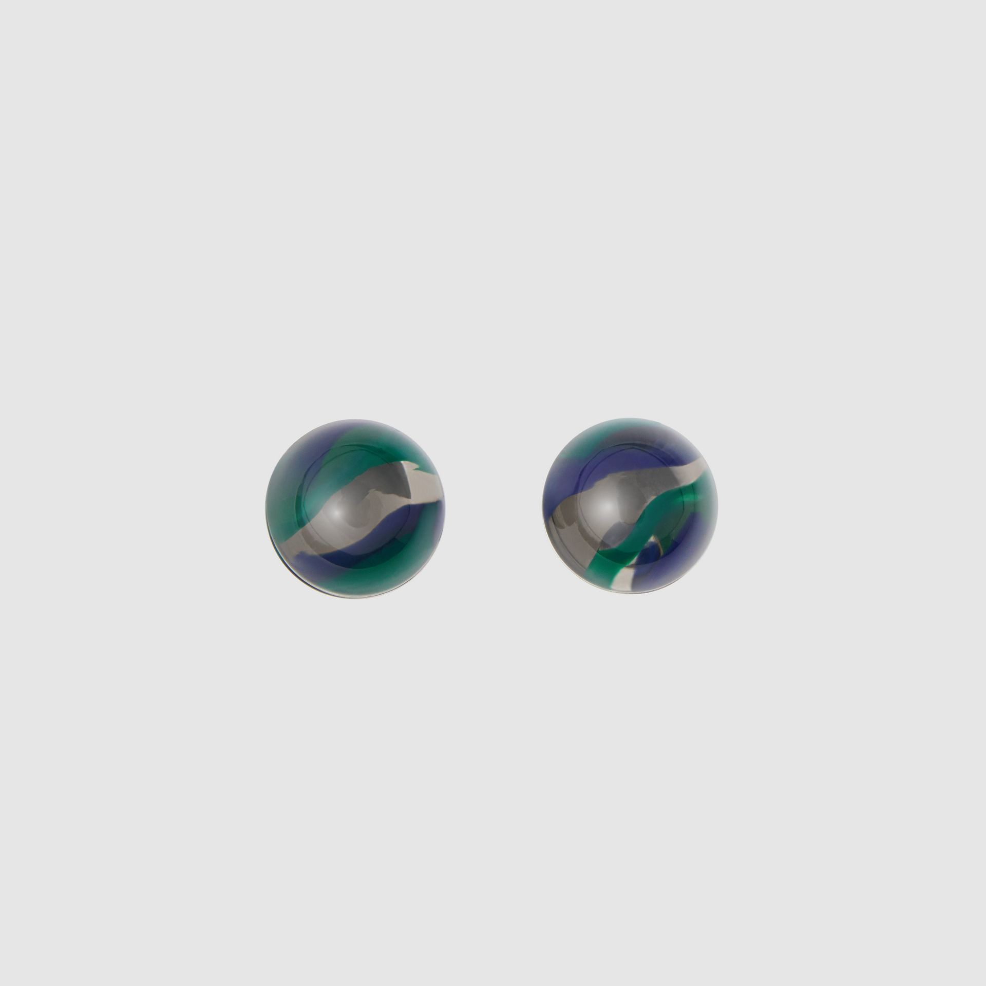 Marbled Resin Palladium-plated Sphere Earrings in Palladio/ocean Green - Women | Burberry Australia - gallery image 0