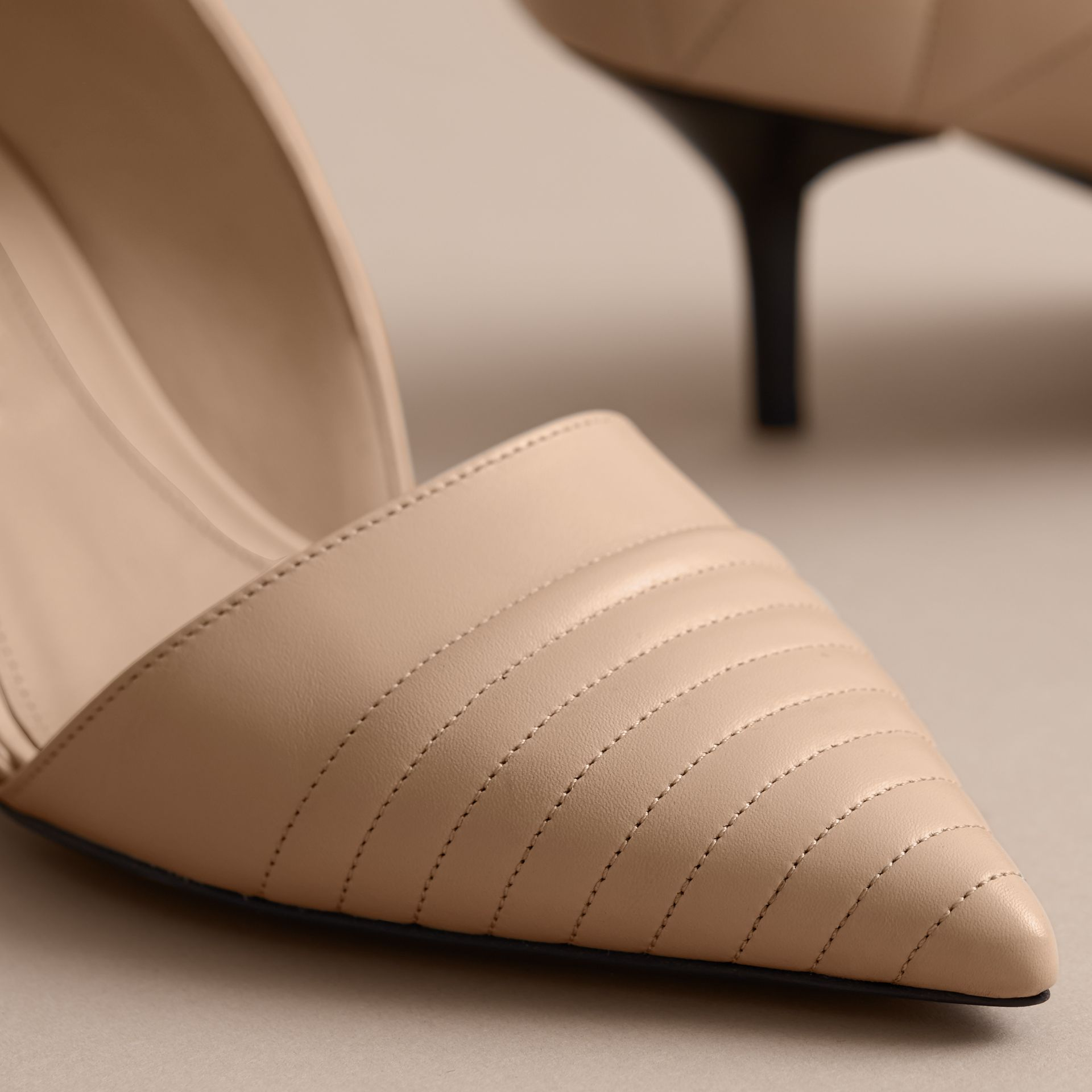 Quilted Leather D'Orsay Pumps in Pale Taupe - Women | Burberry - gallery image 5