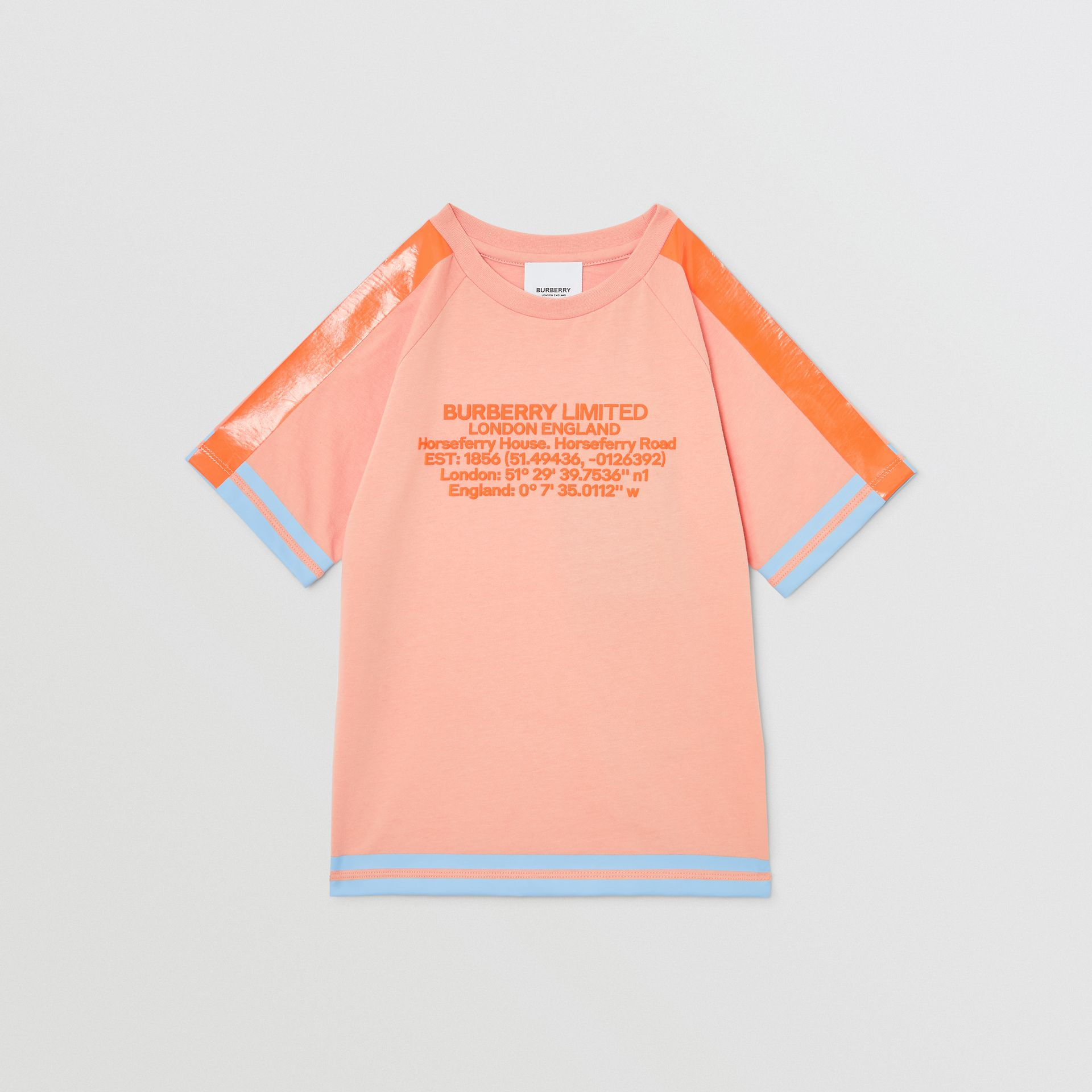 Tape Detail Location Print Cotton T-shirt in Peach | Burberry - gallery image 0