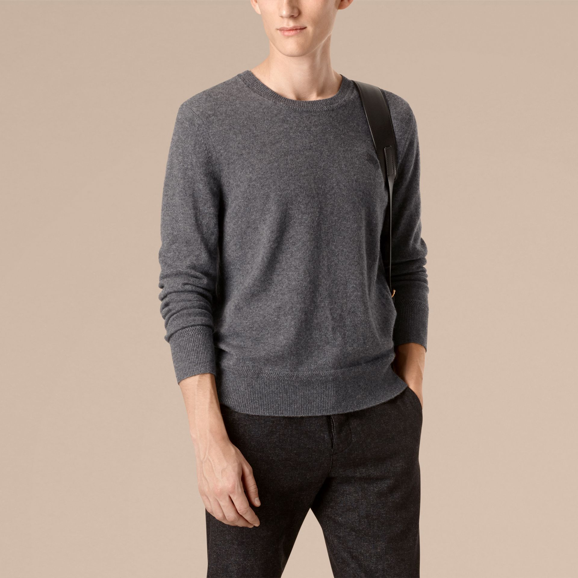 Crew Neck Cashmere Sweater in Mid Grey Melange - gallery image 3