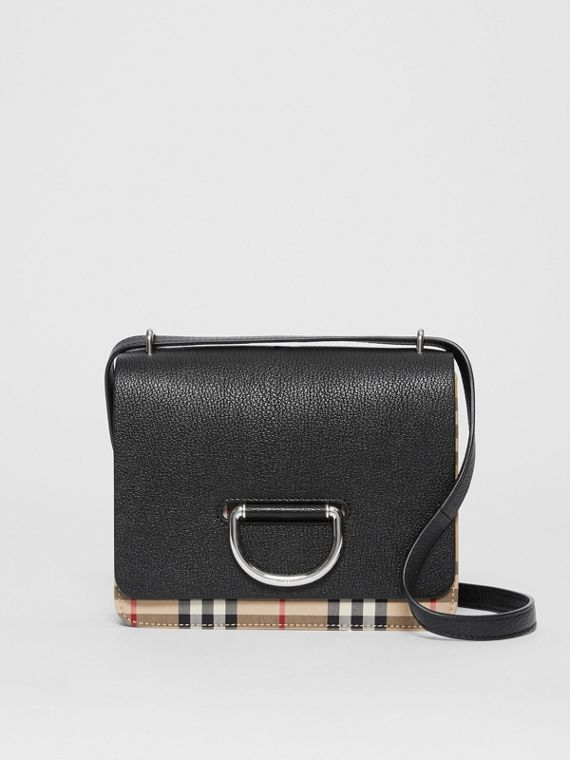 The Small Leather and Vintage Check D-ring Bag in Black