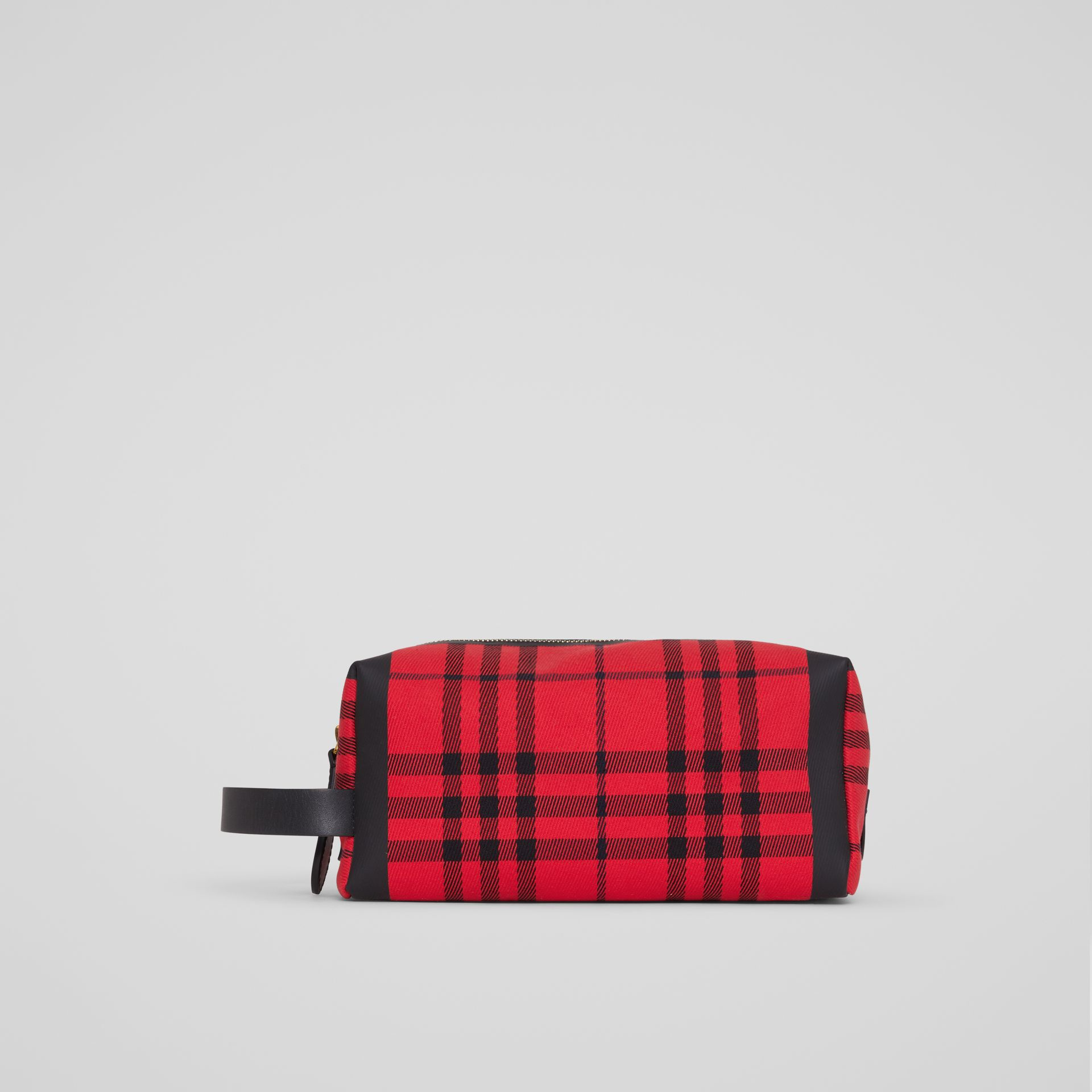 Tartan Cotton Pouch in Military Red | Burberry - gallery image 3