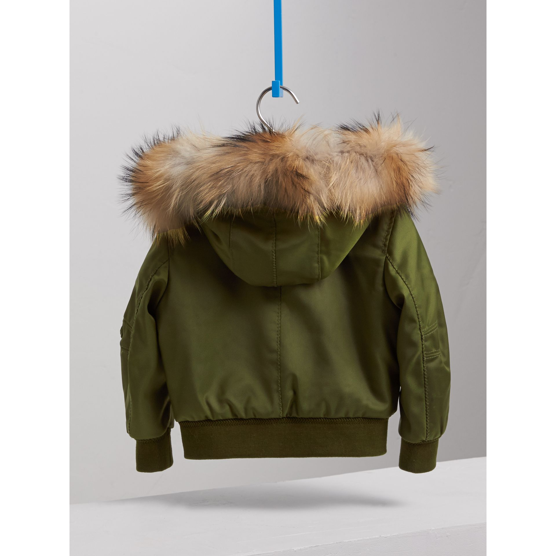 Detachable Fox Fur Trim Hood Technical Twill Bomber Jacket in Caper Green - Boy | Burberry - gallery image 4