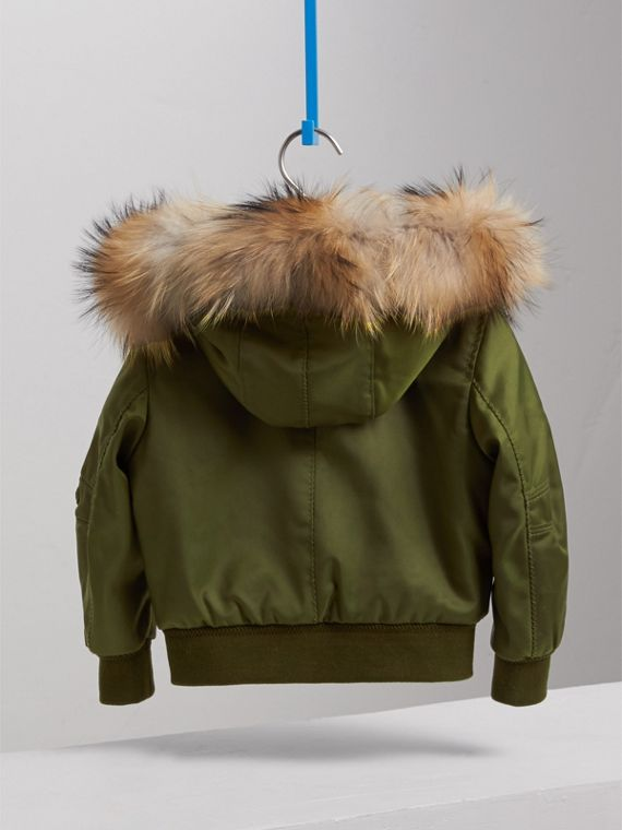 Detachable Fox Fur Trim Hood Technical Twill Bomber Jacket in Caper Green - Boy | Burberry - cell image 3