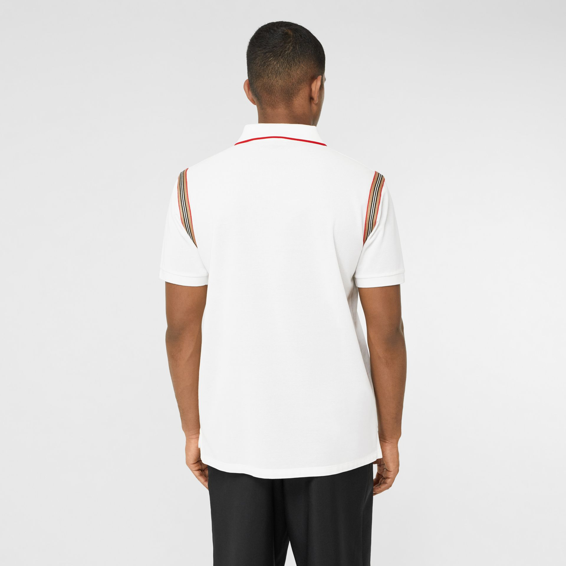 Icon Stripe Trim Monogram Motif Cotton Polo Shirt in White - Men | Burberry - gallery image 2