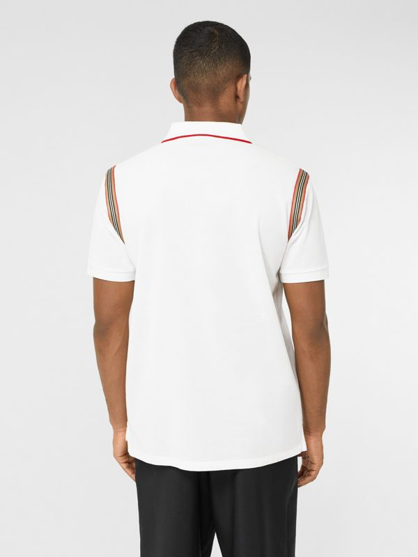 Icon Stripe Trim Monogram Motif Cotton Polo Shirt in White - Men | Burberry - cell image 2