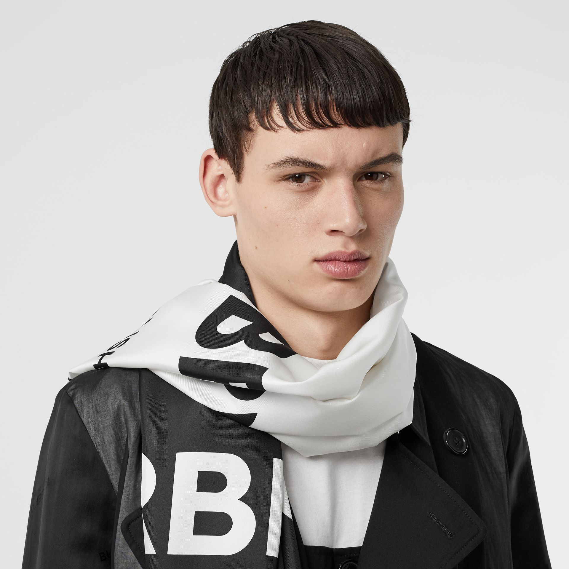 Horseferry Print Silk Scarf in Black/white | Burberry - gallery image 2