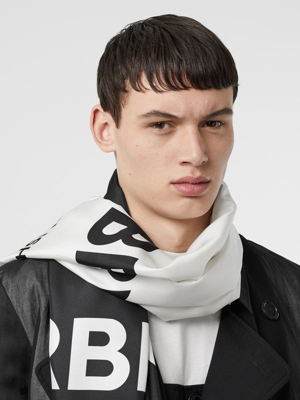 Horseferry Print Silk Scarf in Black/white | Burberry - cell image 2