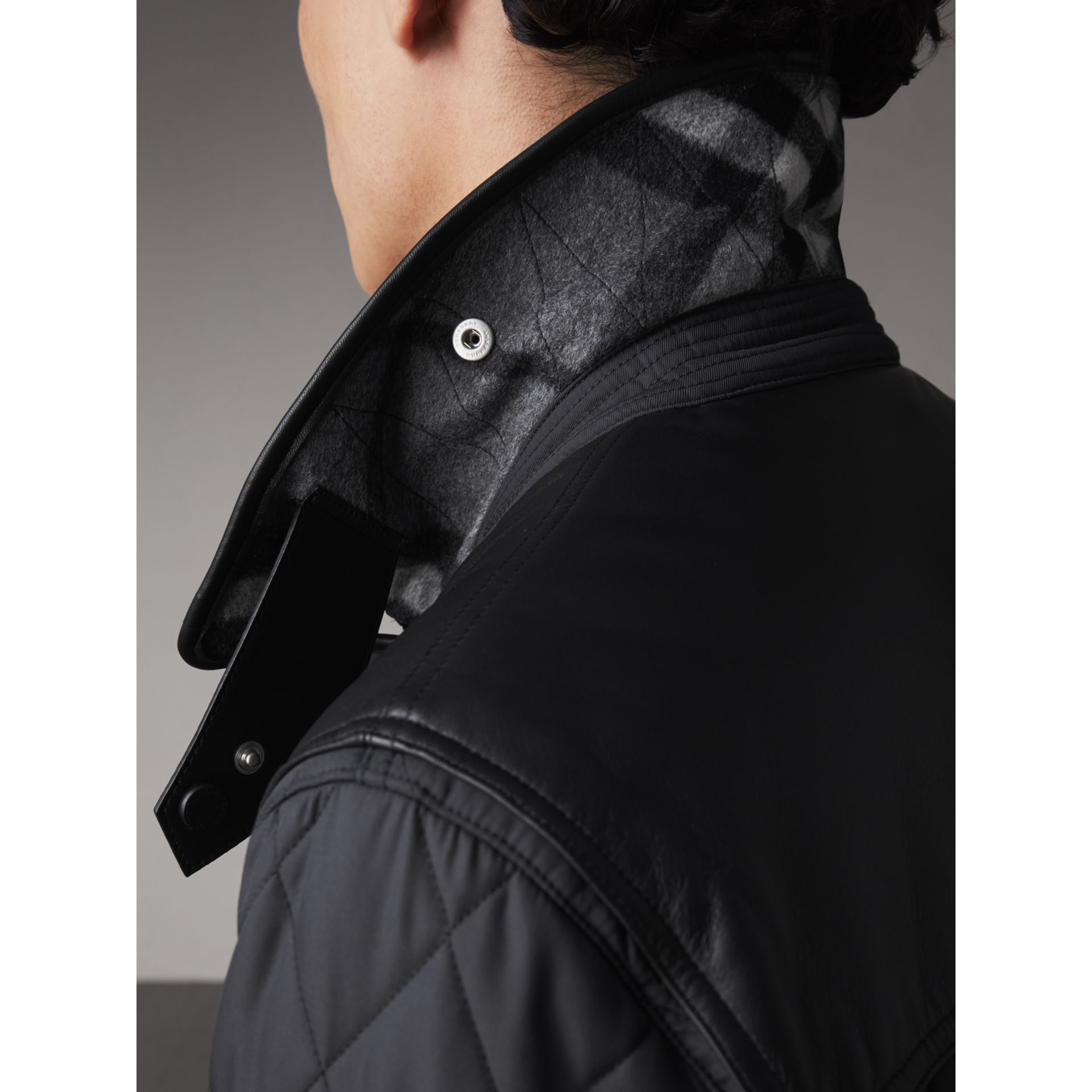 Lambskin Yoke Diamond Quilted Jacket in Black - Men | Burberry United Kingdom - gallery image 4