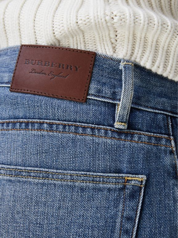 Straight Fit Washed Japanese Selvedge Denim Jeans in Light Indigo - Men | Burberry Australia - cell image 1