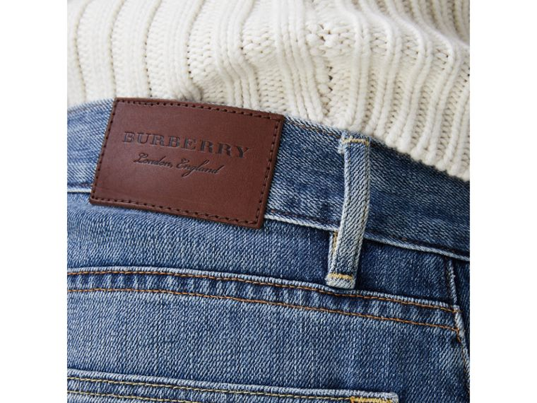 Straight Fit Washed Japanese Selvedge Denim Jeans in Light Indigo - Men | Burberry United Kingdom - cell image 1
