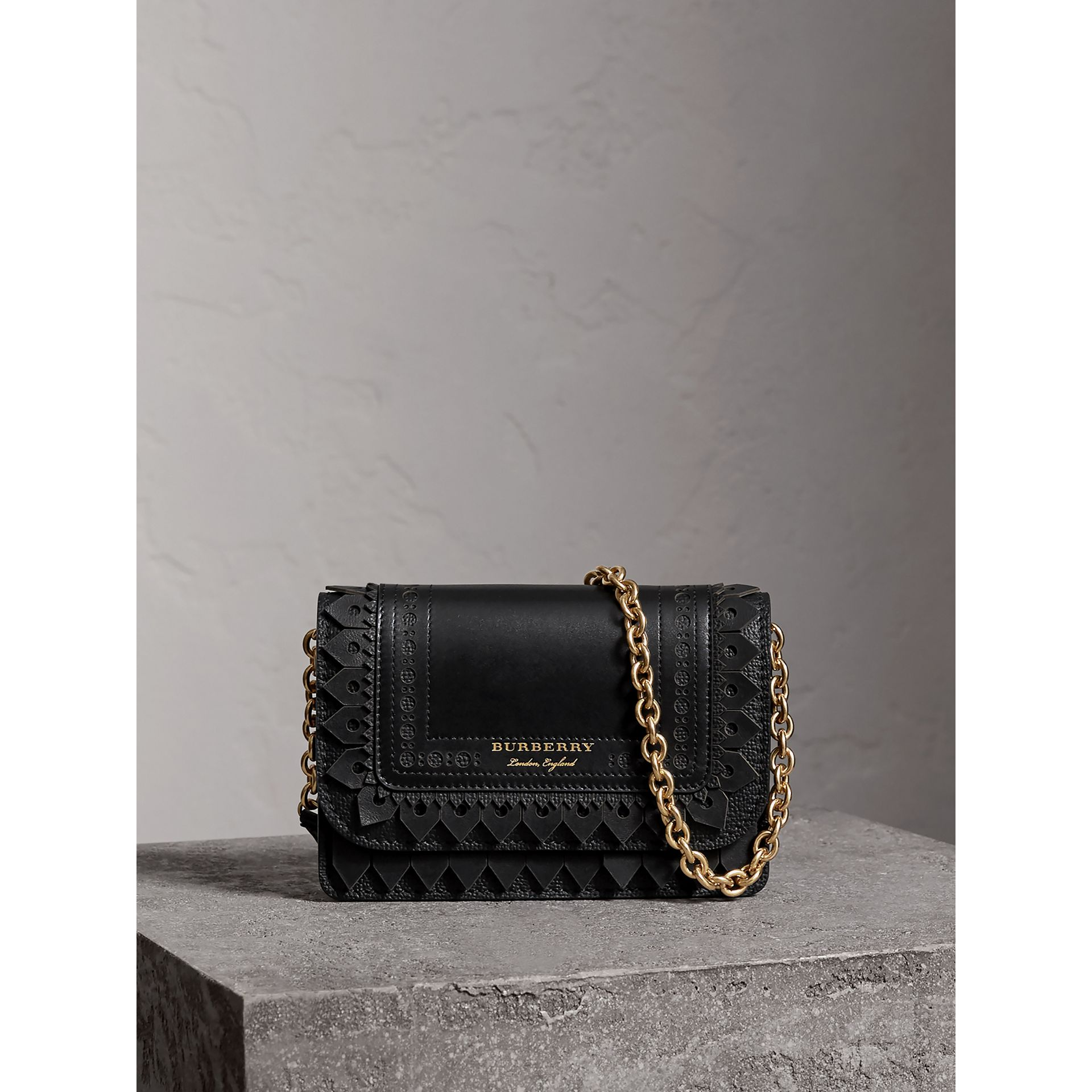 Brogue Detail Leather Wallet with Detachable Strap in Black - Women | Burberry - gallery image 0