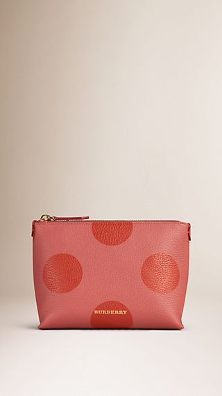 Dot Print Grainy Leather Beauty Pouch