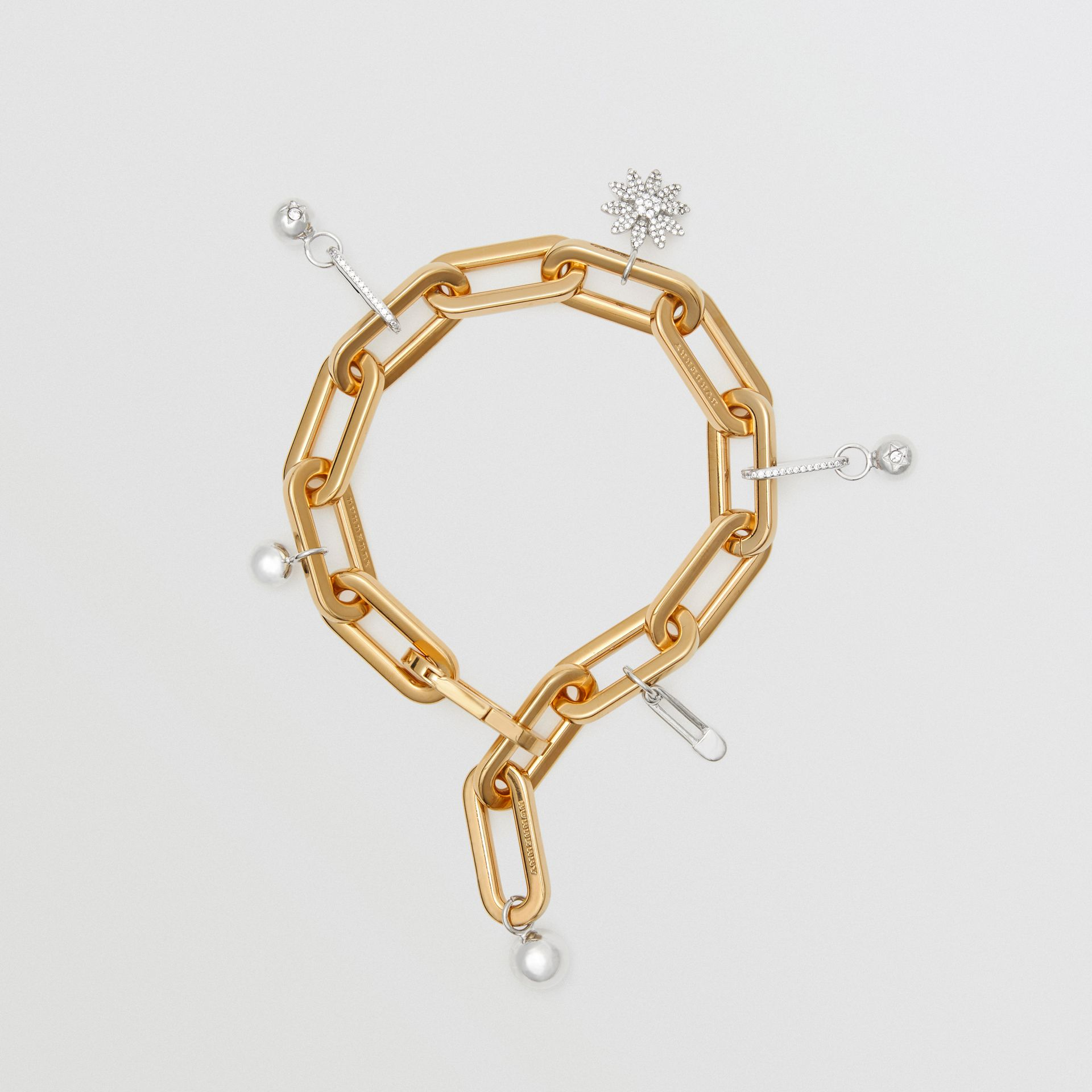 Crystal Charm Gold and Palladium-plated Bracelet in Light Gold/palladio - Women | Burberry - gallery image 0