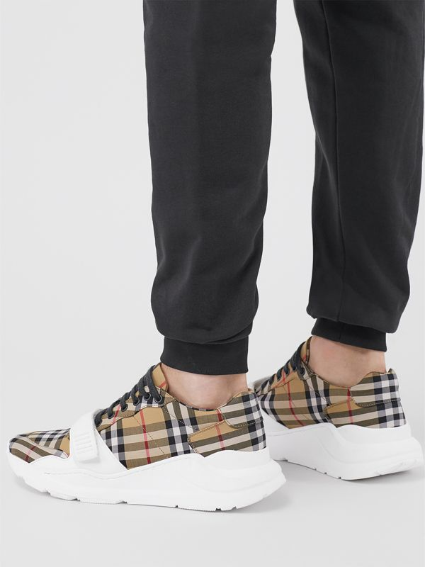 Vintage Check Cotton Sneakers in Antique Yellow - Men | Burberry Australia - cell image 2