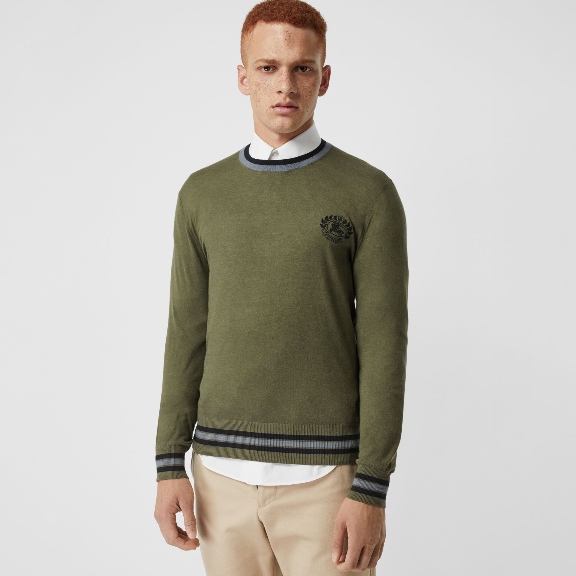 Embroidered Crest Cotton Silk Sweater in Slate Green - Men | Burberry Australia - gallery image 4