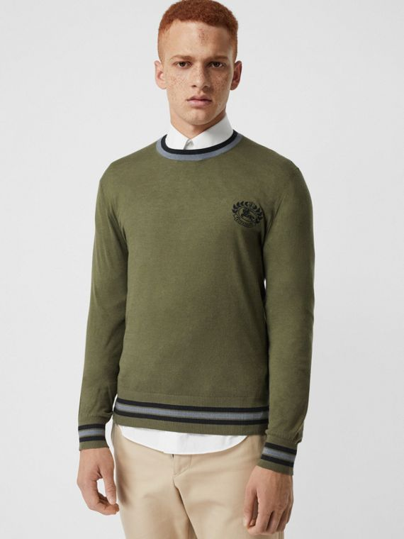 Embroidered Crest Cotton Silk Sweater in Slate Green
