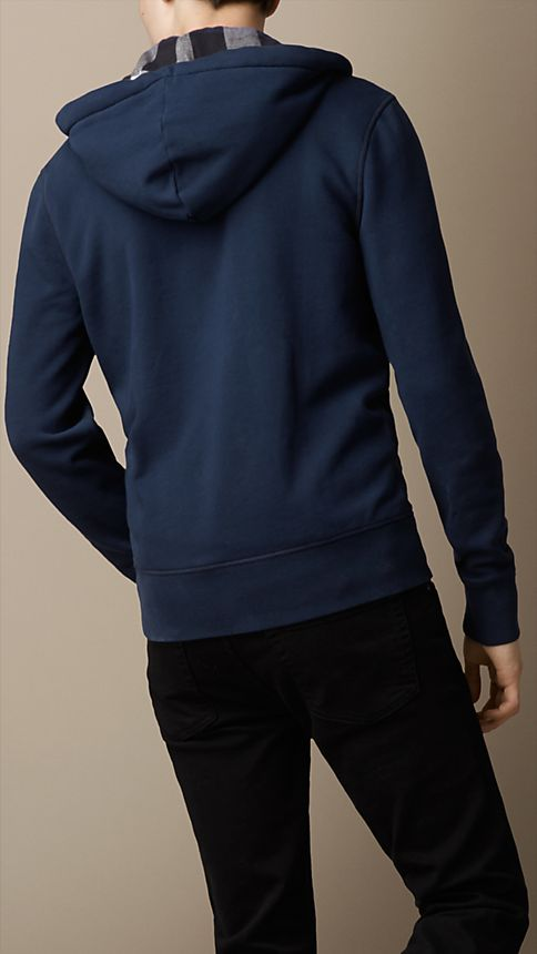 Navy Hooded Cotton Jersey Top - Image 2