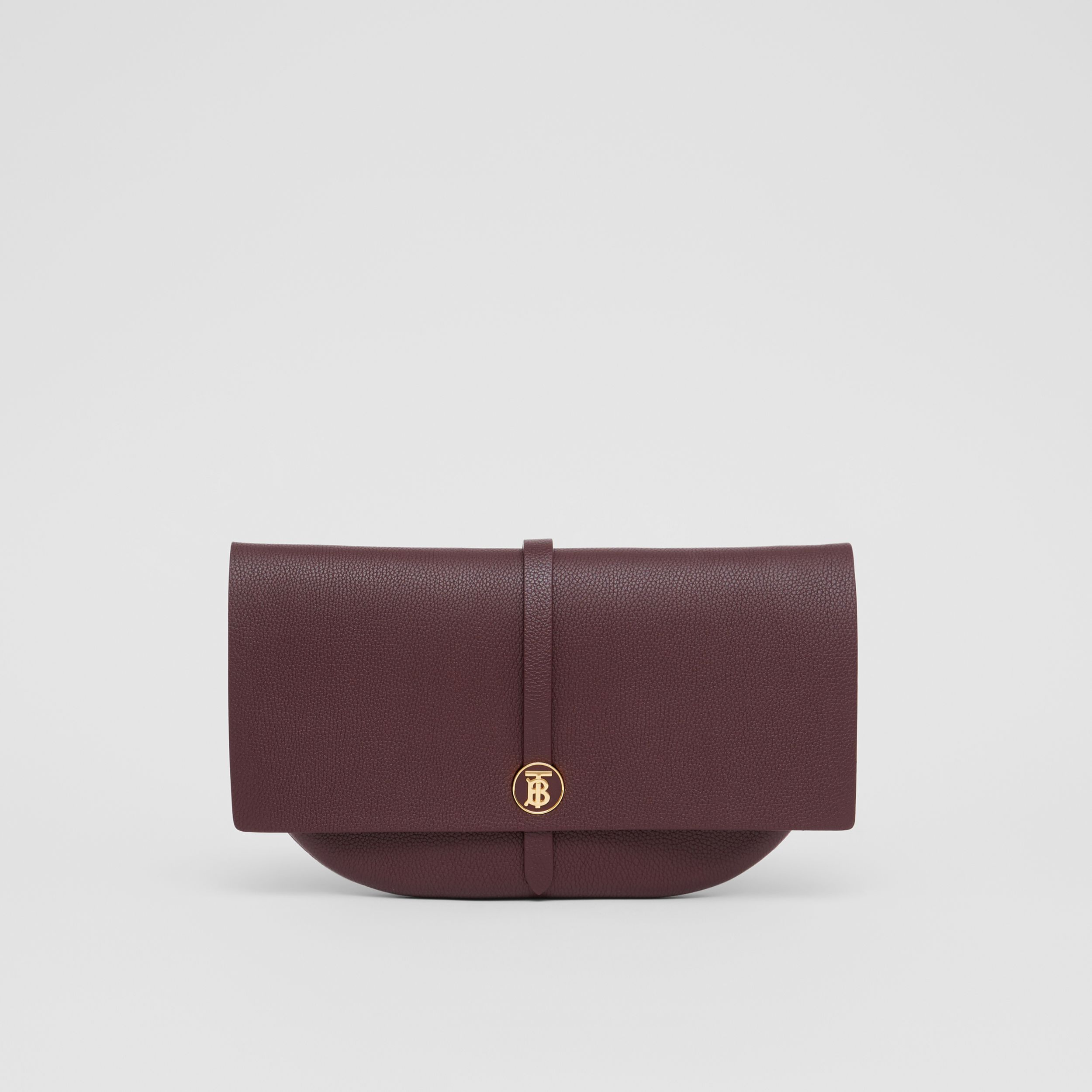 Grainy Leather Anne Clutch in Dark Walnut - Women | Burberry - 1