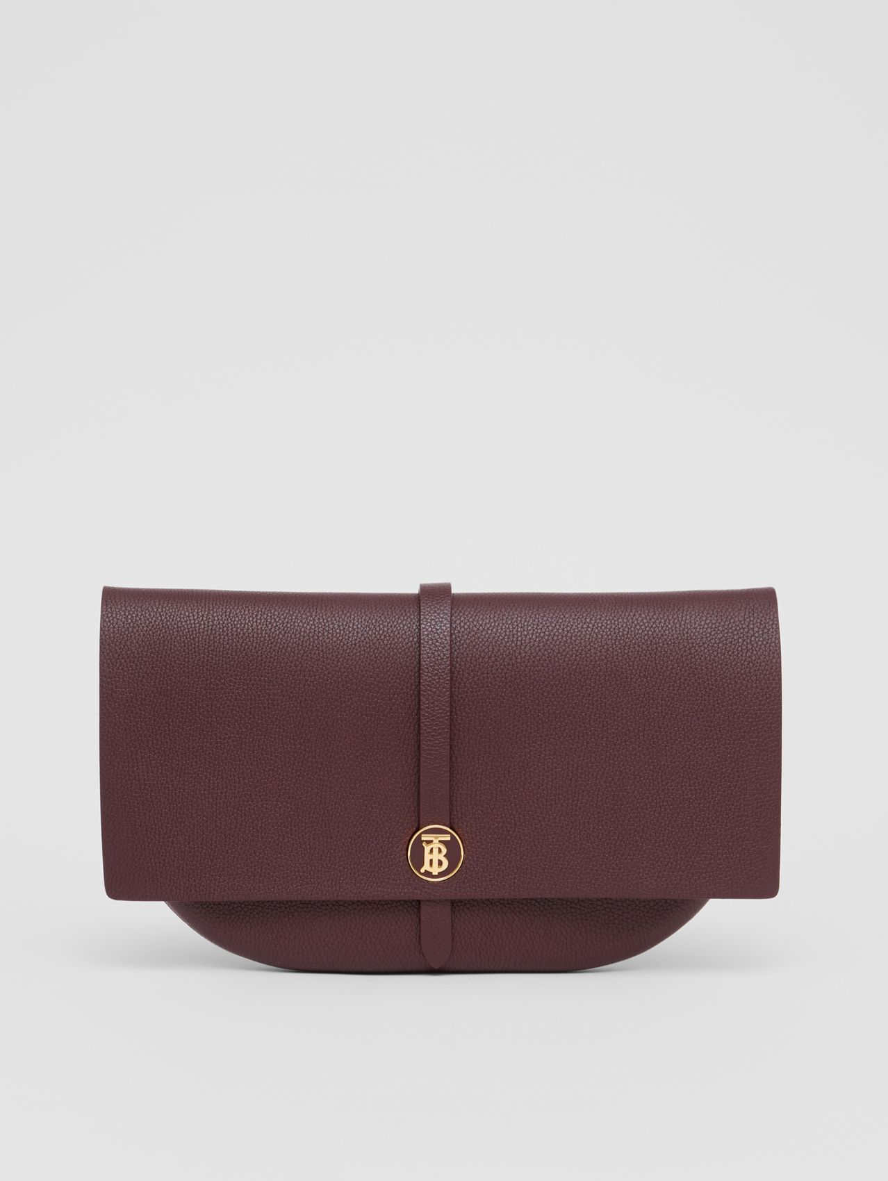 Grainy Leather Anne Clutch in Dark Walnut
