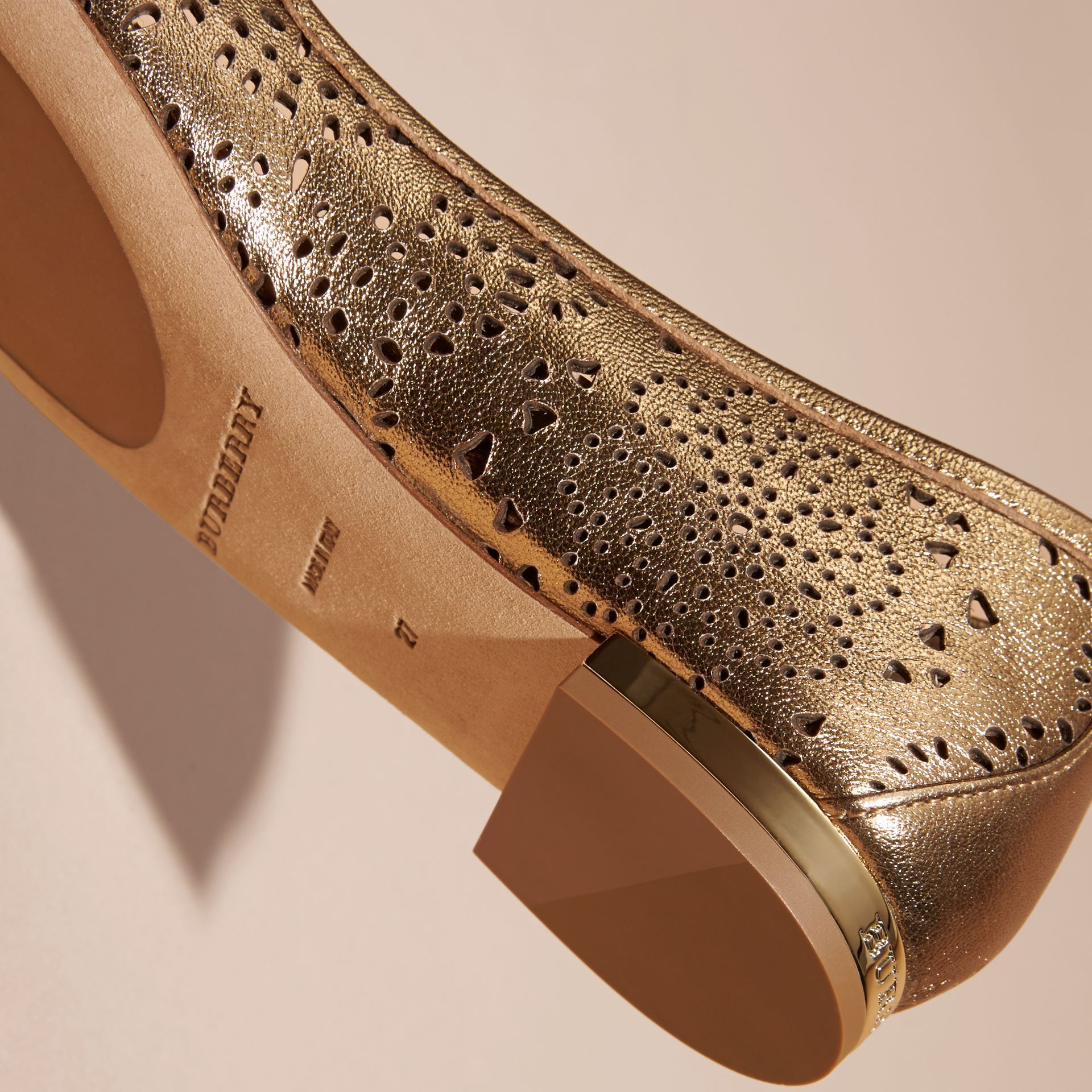 Heritage gold Laser-cut Metallic Leather Ballerinas - gallery image 2