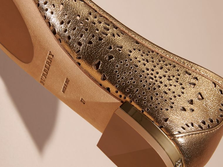 Heritage gold Laser-cut Metallic Leather Ballerinas - cell image 1