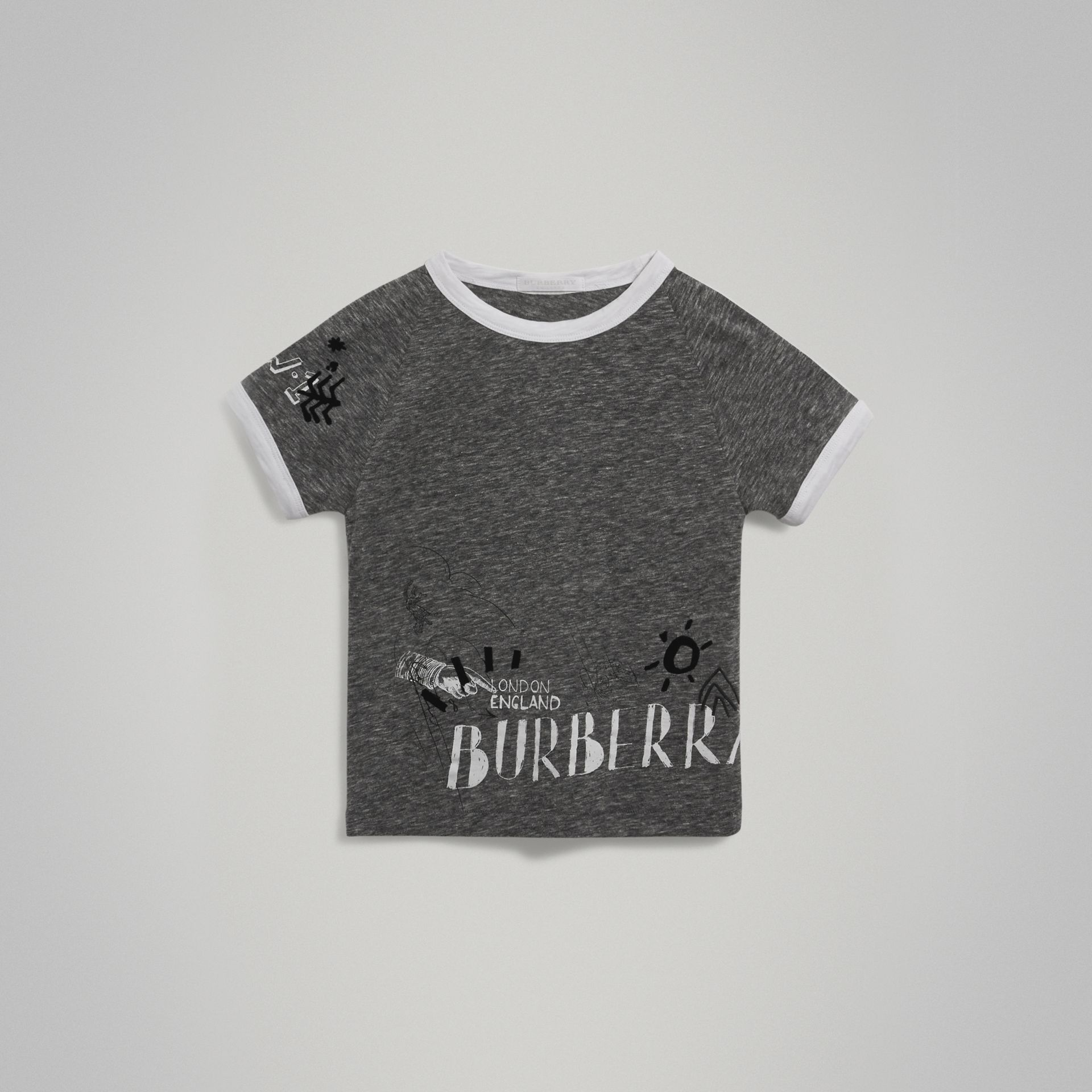 Raglan-sleeve Adventure Motif Cotton Blend T-shirt in Dark Grey Melange - Boy | Burberry - gallery image 0