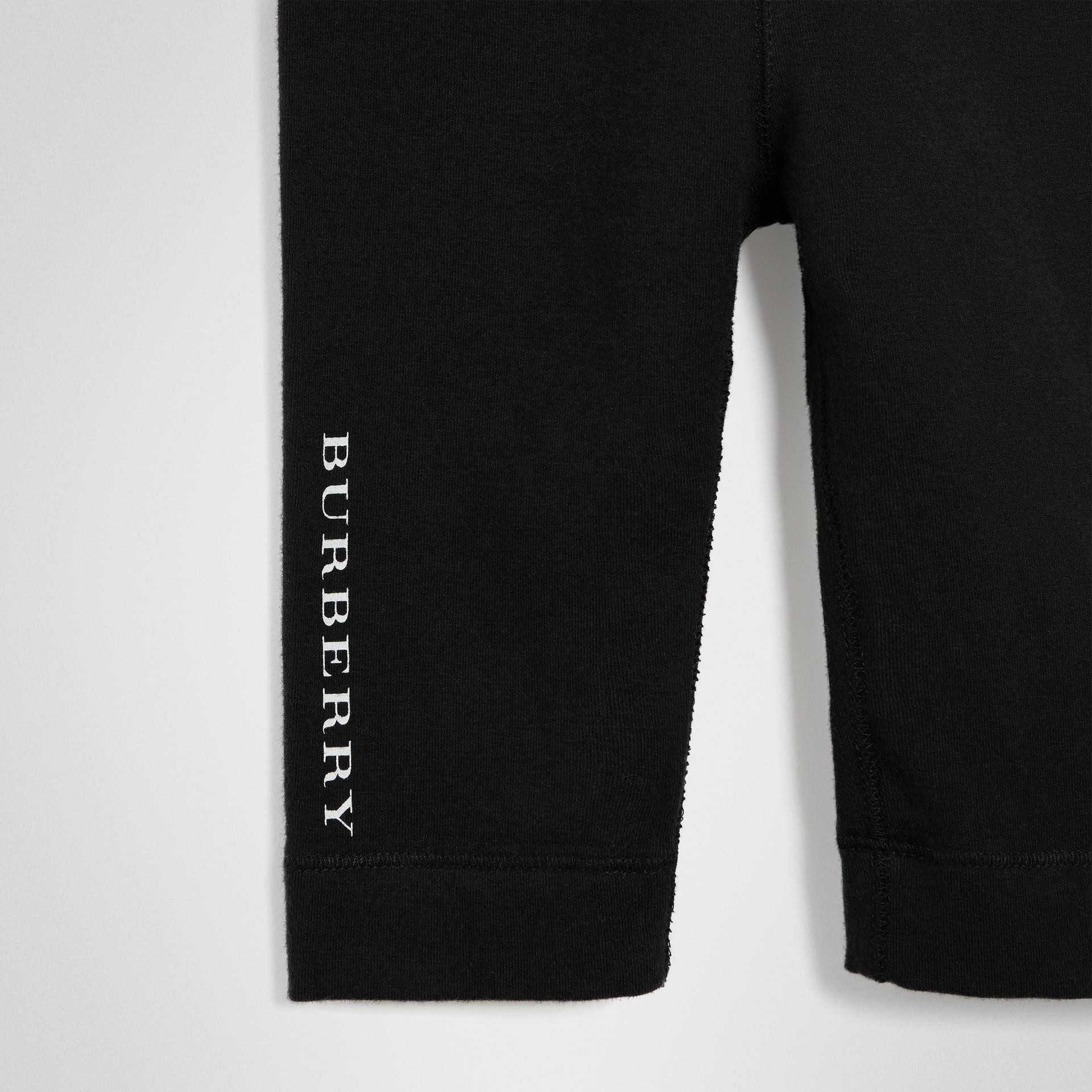 Logo Detail Stretch Cotton Leggings in Black - Children | Burberry - gallery image 4