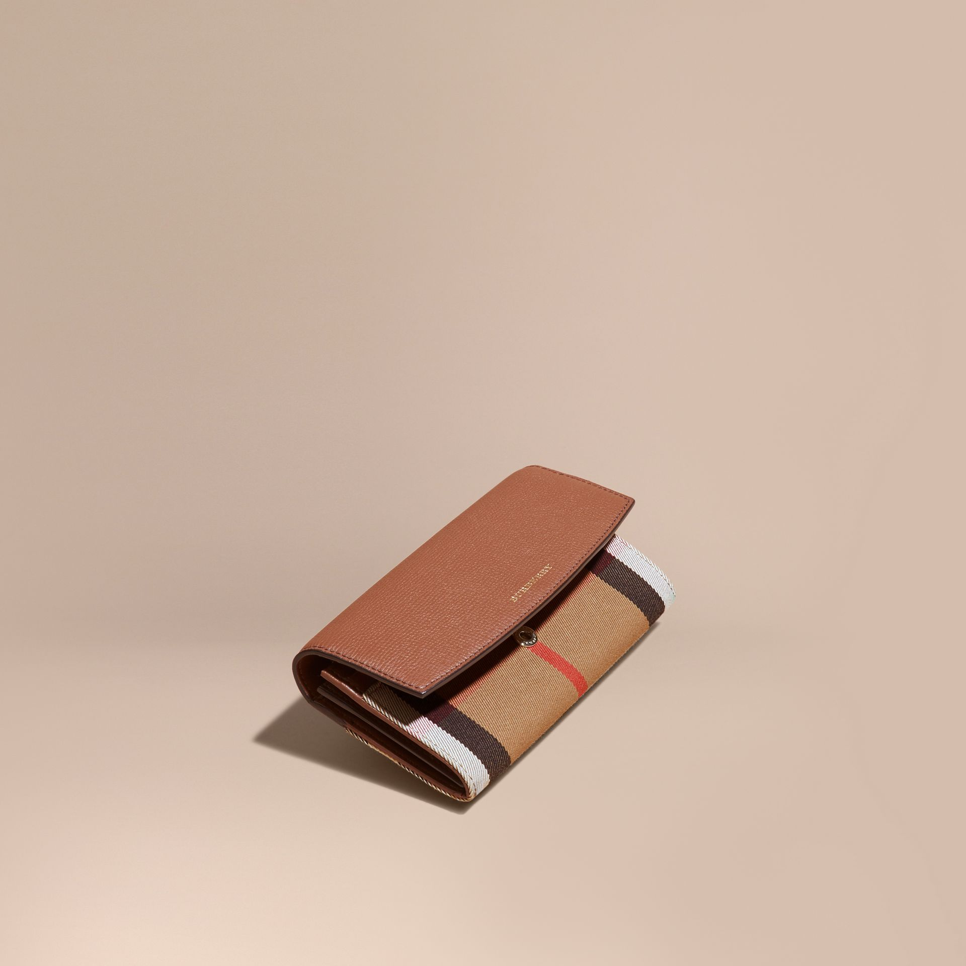House Check And Leather Continental Wallet in Tan - Women | Burberry - gallery image 1