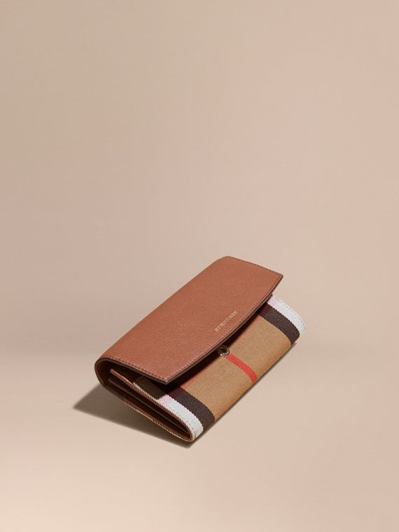 House Check And Leather Continental Wallet Tan