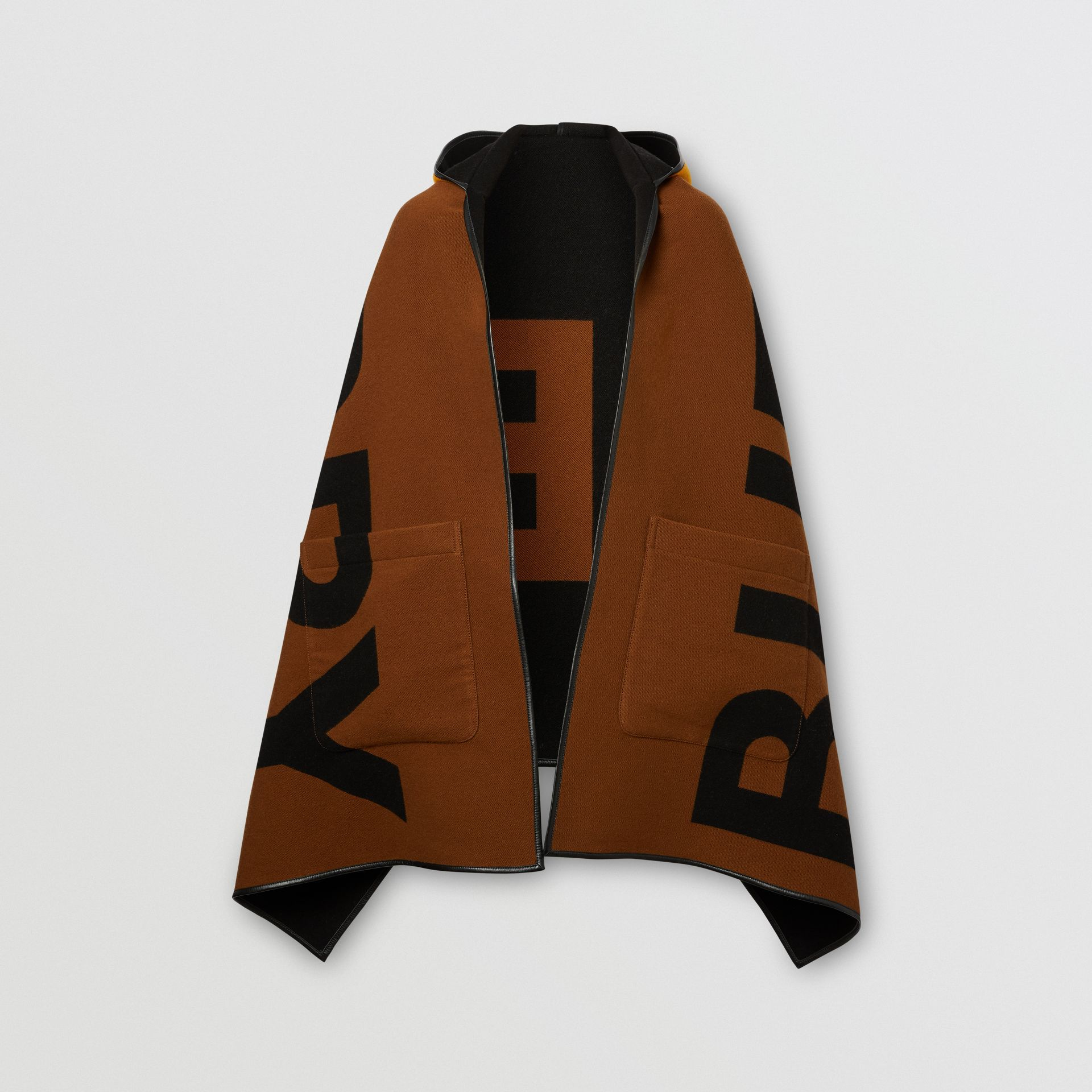 Logo Wool Cotton Jacquard Hooded Cape in Dark Chestnut Brown | Burberry - gallery image 3