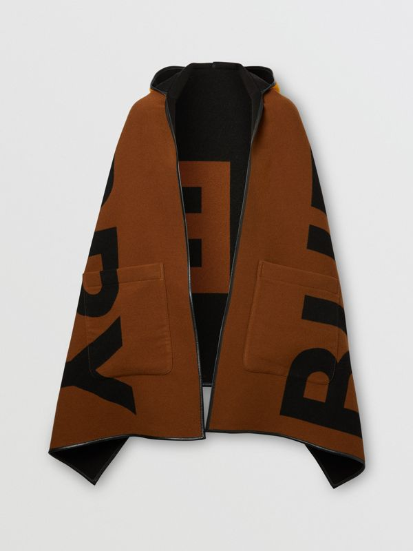 Logo Wool Cotton Jacquard Hooded Cape in Dark Chestnut Brown | Burberry - cell image 3