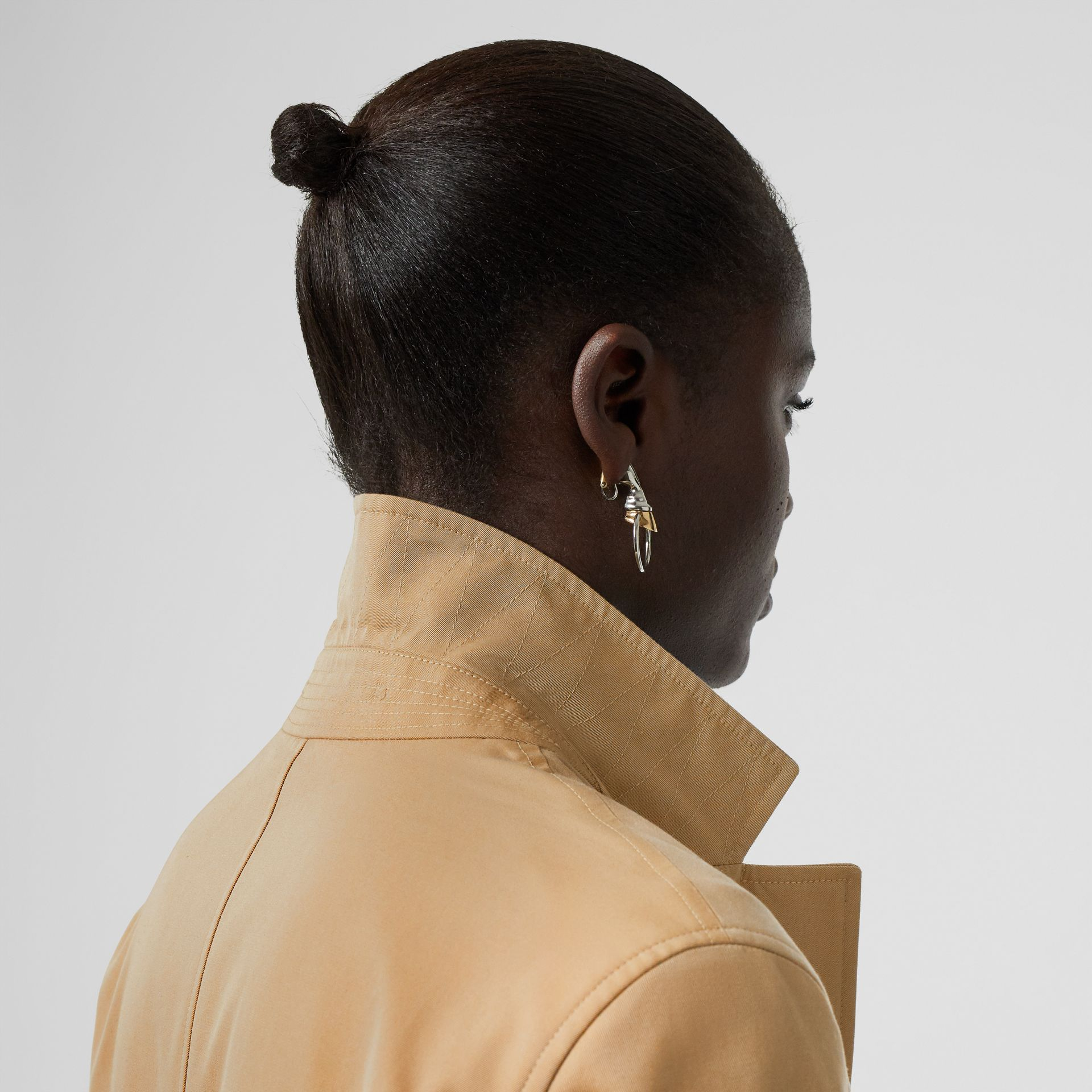 Press-stud Detail Cotton Gabardine Car Coat in Honey - Women | Burberry - gallery image 4