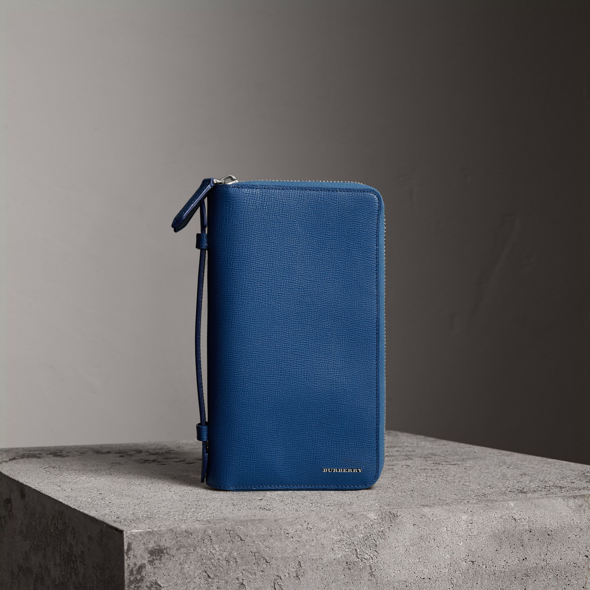 London Leather Travel Wallet in Deep Blue | Burberry United Kingdom - gallery image 0