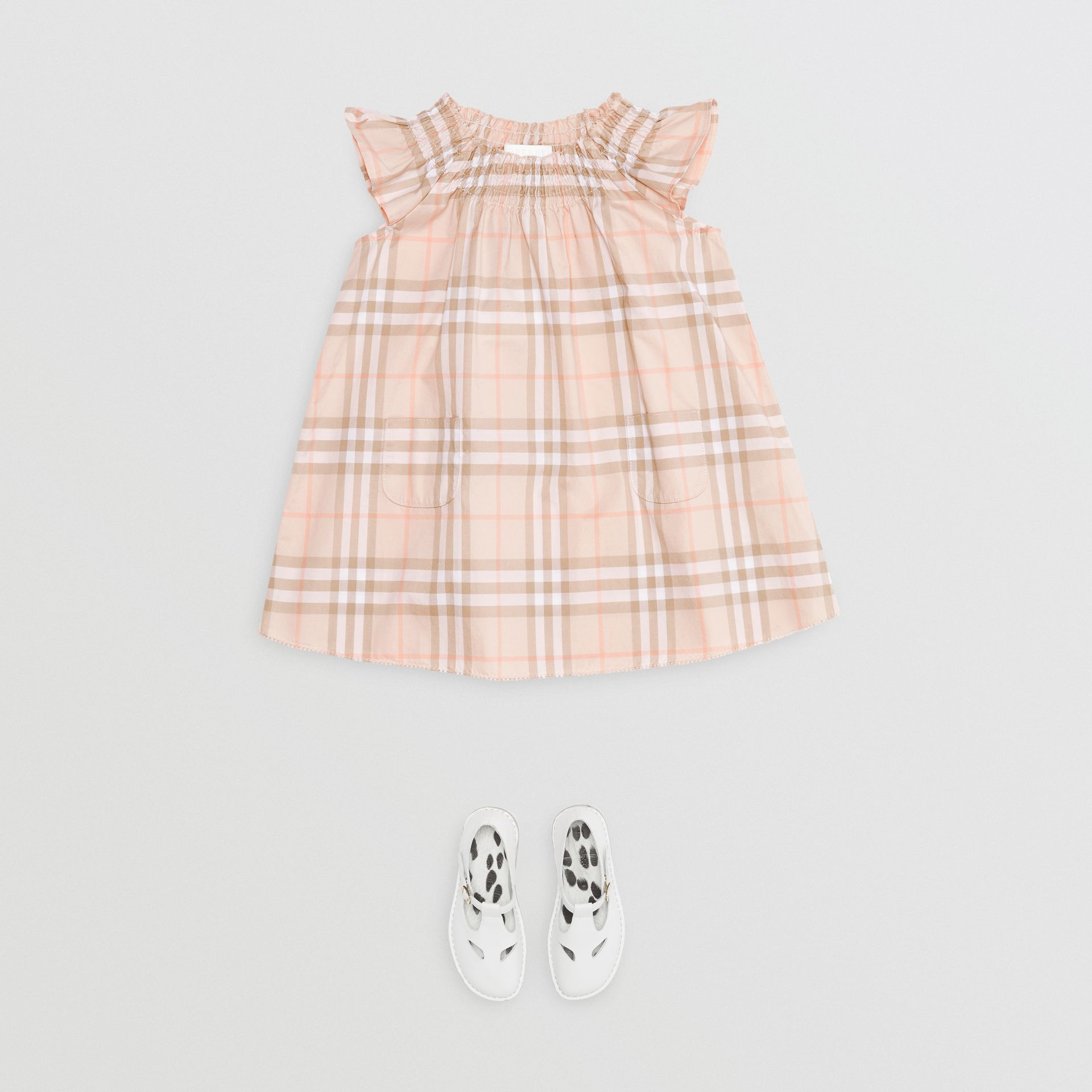 Smocked Vintage Check Cotton Dress in Pale Pink Apricot - Children | Burberry - gallery image 2