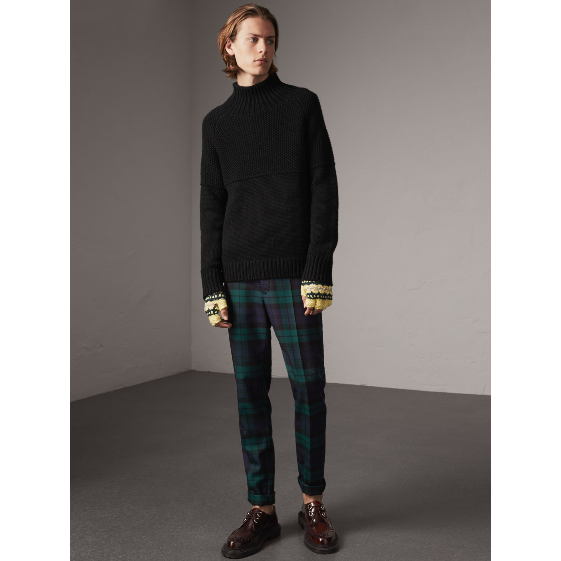 Tartan Wool Tailored Trousers in Navy - Men | Burberry - gallery image 1