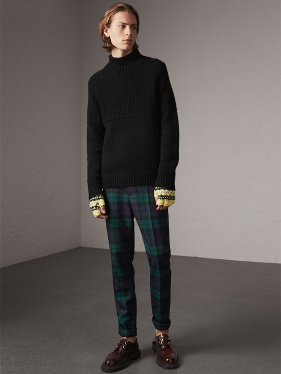 Tartan Wool Tailored Trousers in Navy