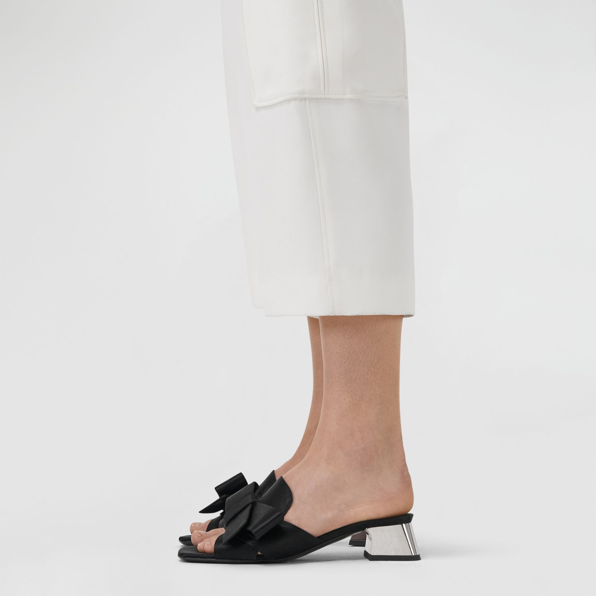 Bow Detail Satin Block-heel Mules in Black - Women | Burberry - gallery image 2