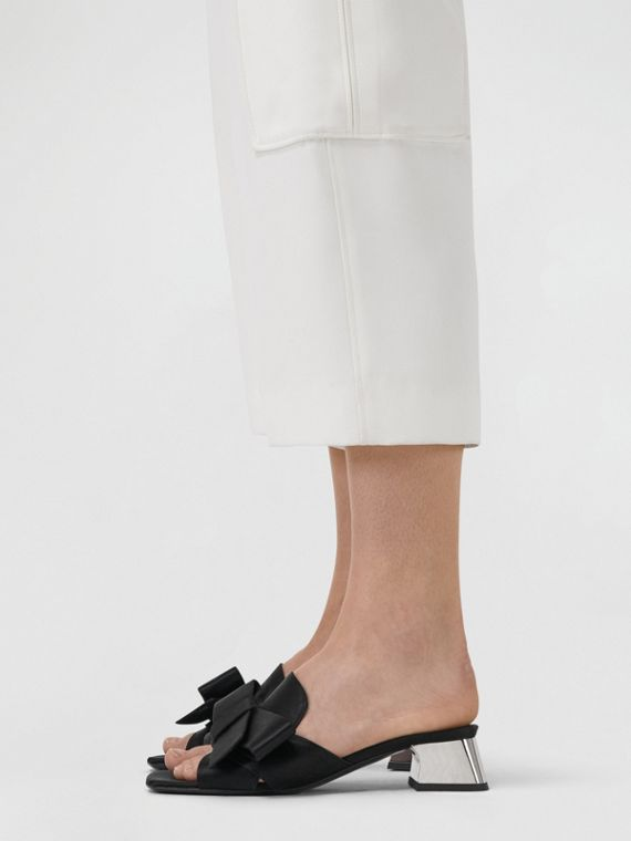 Bow Detail Satin Block-heel Mules in Black