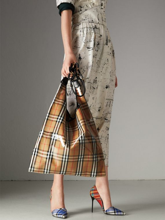 Medium Plastic Vintage Check and Leather Shopper in Antique Yellow/black - Women | Burberry United Kingdom - cell image 3