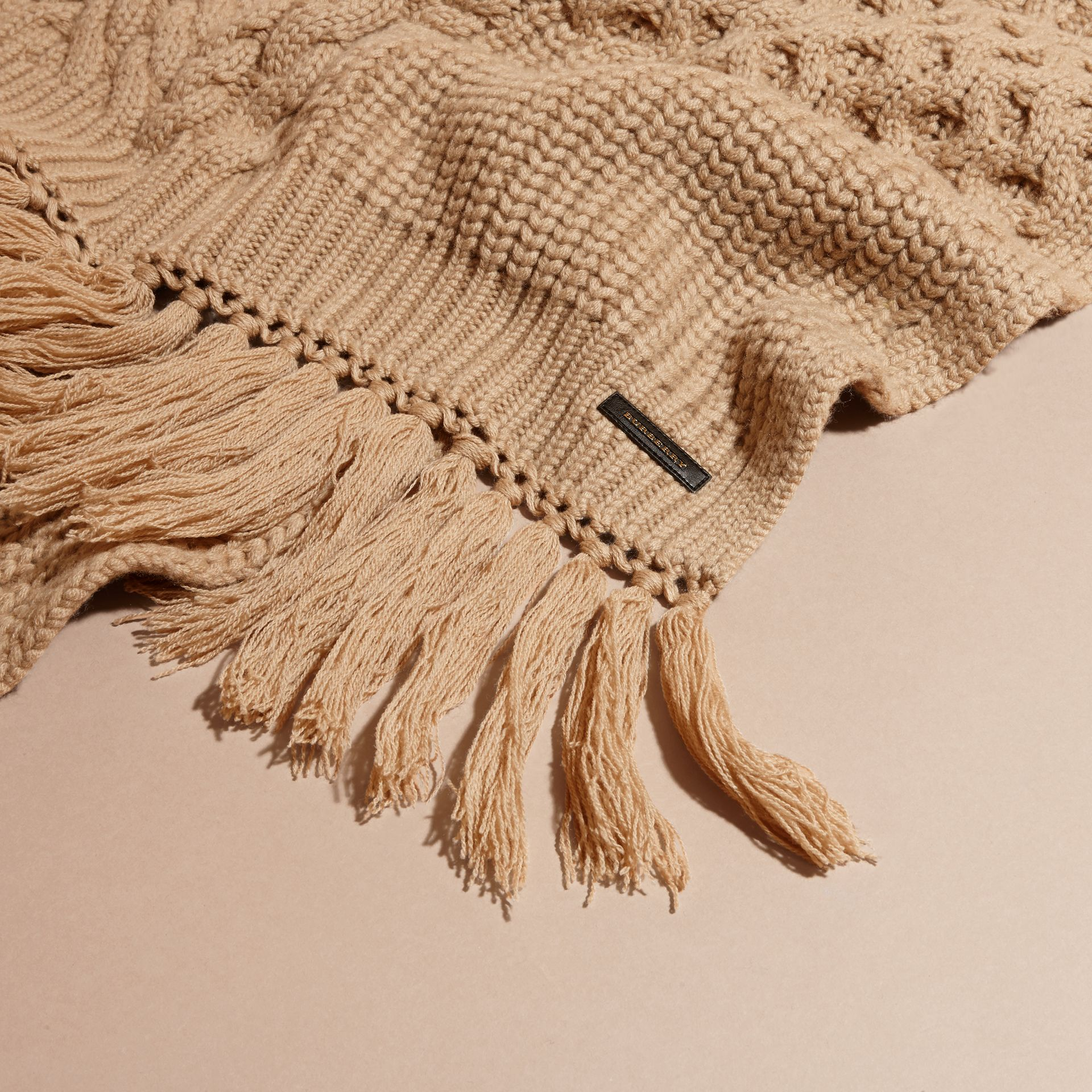Camel Oversize Aran Knit Wool Cashmere Scarf Camel - gallery image 2
