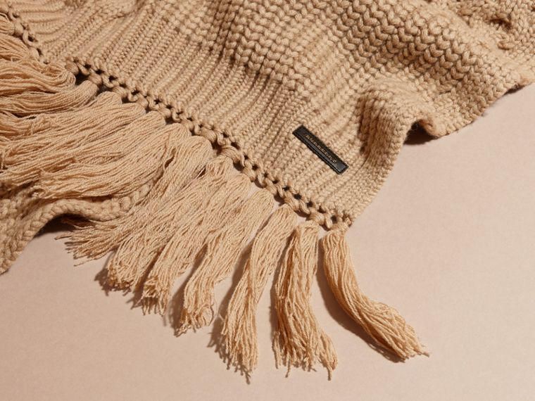 Camel Oversize Aran Knit Wool Cashmere Scarf Camel - cell image 1